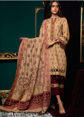 Zurr Kamalia by AB Textiles Embroidered Khaddar Unstitched 3 Piece Suit AB20ZK 01 Granate - Winter Collection