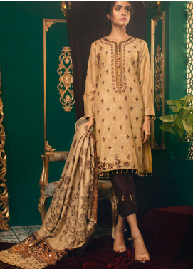 Zurr Kamalia by AB Textiles Embroidered Khaddar Unstitched 3 Piece Suit AB20ZK 03 Maroon Oscura - Winter Collection