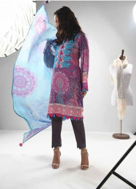 Zyra by Tarzz Embroidered Lawn Unstitched 3 Piece Suit ZYT19S 10B LAVENDER FROST - Mid Summer Collection