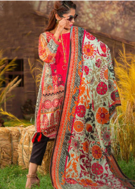 Tarzz Printed Khaddar Unstitched 3 Piece Suit ZYT19W 02 Deep Mahogany - Winter Collection