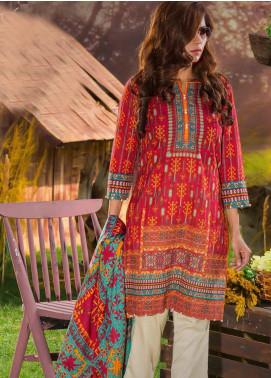 Tarzz Printed Khaddar Unstitched 2 Piece Suit ZYT19W 02 Teal Brick - Winter Collection
