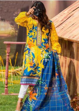 Tarzz Printed Khaddar Unstitched 2 Piece Suit ZYT19W 05 Blazing Yellow - Winter Collection