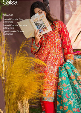 Tarzz Printed Khaddar Unstitched 3 Piece Suit ZYT19W 05 Salsa - Winter Collection