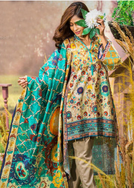 Tarzz Printed Khaddar Unstitched 3 Piece Suit ZYT19W 07 Carribean Sea - Winter Collection