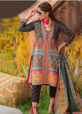 Tarzz Printed Khaddar Unstitched 3 Piece Suit ZYT19W 08 Black Flame - Winter Collection