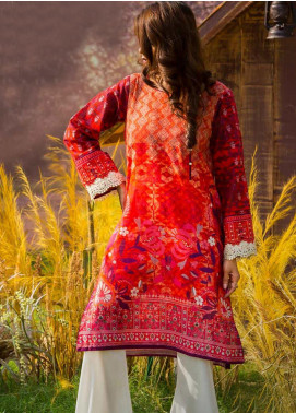 Tarzz Printed Khaddar Winter Collection 08 Rustic Flame 2019