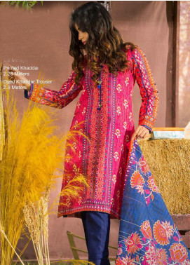 Tarzz Printed Khaddar Unstitched 3 Piece Suit ZYT19W 09 Frosted Pink - Winter Collection