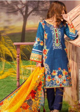 Tarzz Printed Khaddar Unstitched 3 Piece Suit ZYT19W 10 Ocean Gold - Winter Collection
