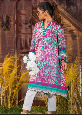 Tarzz Printed Khaddar Unstitched Kurties ZYT19W 11 Orchid Bean - Winter Collection