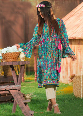 Tarzz Printed Khaddar Unstitched Kurties ZYT19W 15 Sea Grapes - Winter Collection
