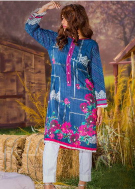 Tarzz Printed Cambric Unstitched Kurties ZYT19W 26 Sailor Blue - Winter Collection