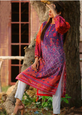 Tarzz Printed Cambric Unstitched Kurties ZYT19W 27 Pink Flambe - Winter Collection