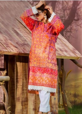 Tarzz Printed Cambric Unstitched Kurties ZYT19W 28 Wild Aster - Winter Collection