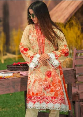 Tarzz Printed Cambric Unstitched Kurties ZYT19W 29 Dusty Rose - Winter Collection