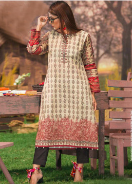 Tarzz Printed Cambric Unstitched Kurties ZYT19W 30 Mouse Grey - Winter Collection