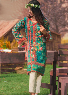 Tarzz Printed Cambric Unstitched Kurties ZYT19W 31 River Green - Winter Collection