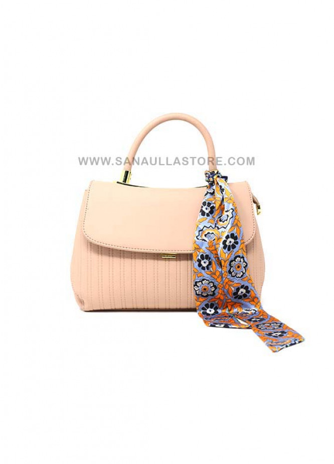 Susen PU Leather Satchels Handbags for Women - Peach with Stripes Clasp
