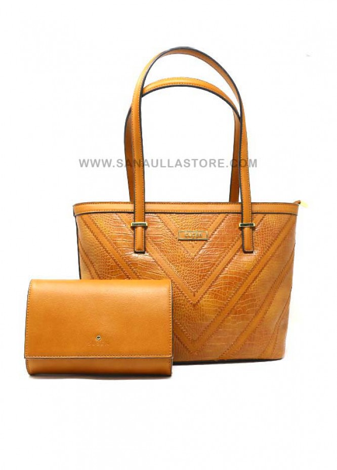 Susen PU Leather Tote  2 Piece Handbag Set for Women - Brown with Stripes