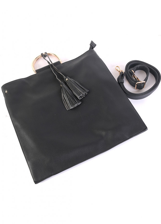 PU Leather Tote  Handbags for Women - Black with Leather Pattern Tassel