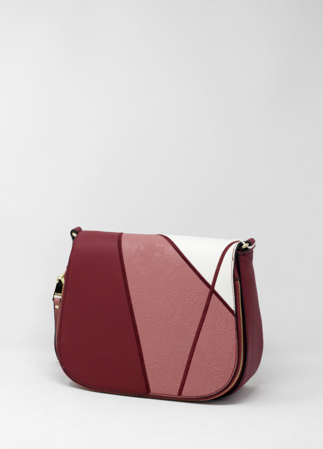 Susen PU Leather Crossbody  Bags for Women - Maroon with Flower Pattern