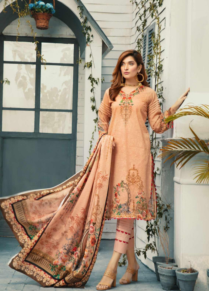 Riaz Arts Embroidered Lawn Unstitched 3 Piece Suit ARA20-L4 44 - Summer Collection