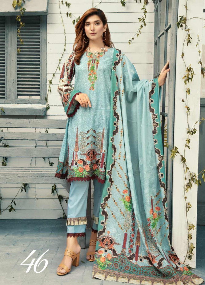 Riaz Arts Embroidered Lawn Unstitched 3 Piece Suit ARA20-L4 46 - Summer Collection