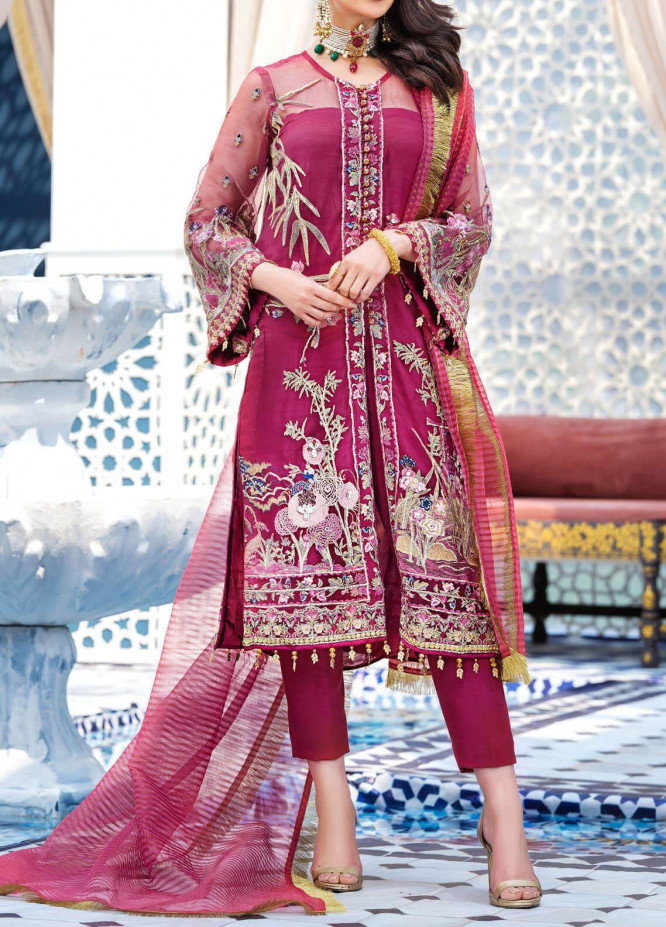 Adila by Gulaal Embroidered Net Unstitched 3 Piece Suit GL20A D-6 AMEUR - Luxury Formal Collection