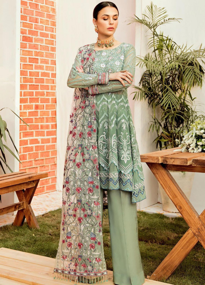 La Fleur by Afrozeh Embroidered Chiffon Unstitched 3 Piece Suit AF20LF 03 APPLE GREEN - Luxury Collection