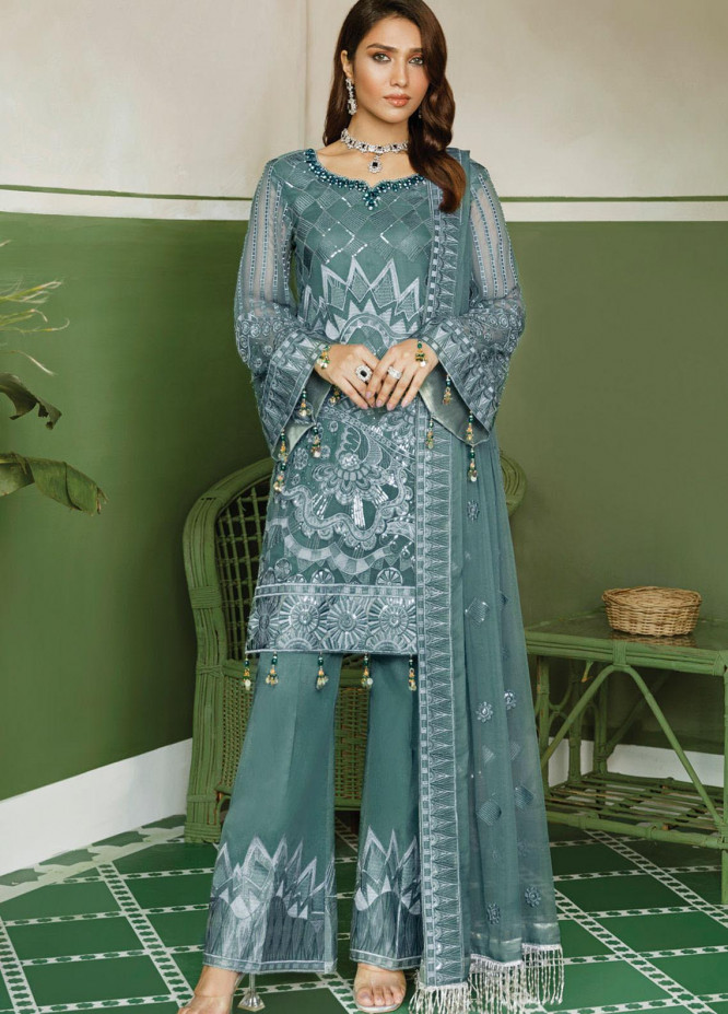 Akbar Aslam Embroidered Chiffon Unstitched 3 Piece Suit AA20WD 2306 - Wedding Collection