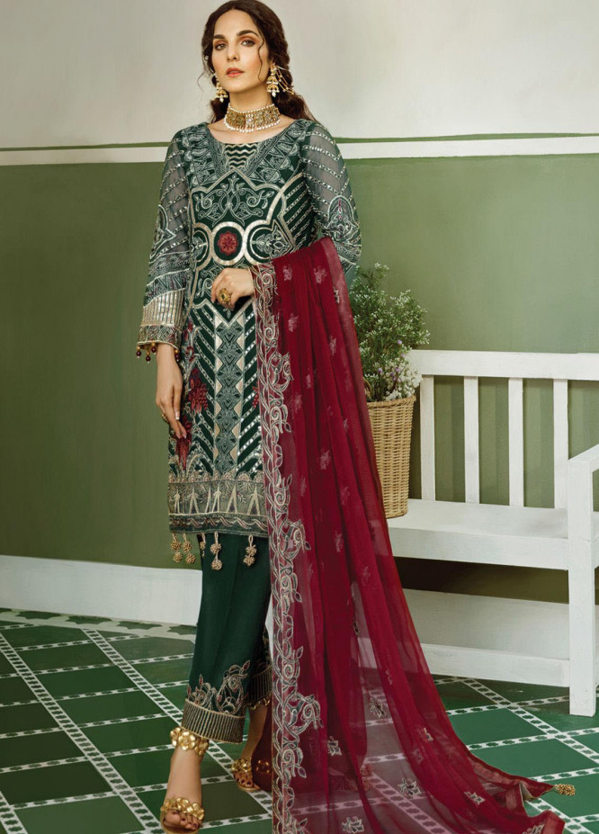 Akbar Aslam Embroidered Chiffon Unstitched 3 Piece Suit AA20WD 2308 - Wedding Collection