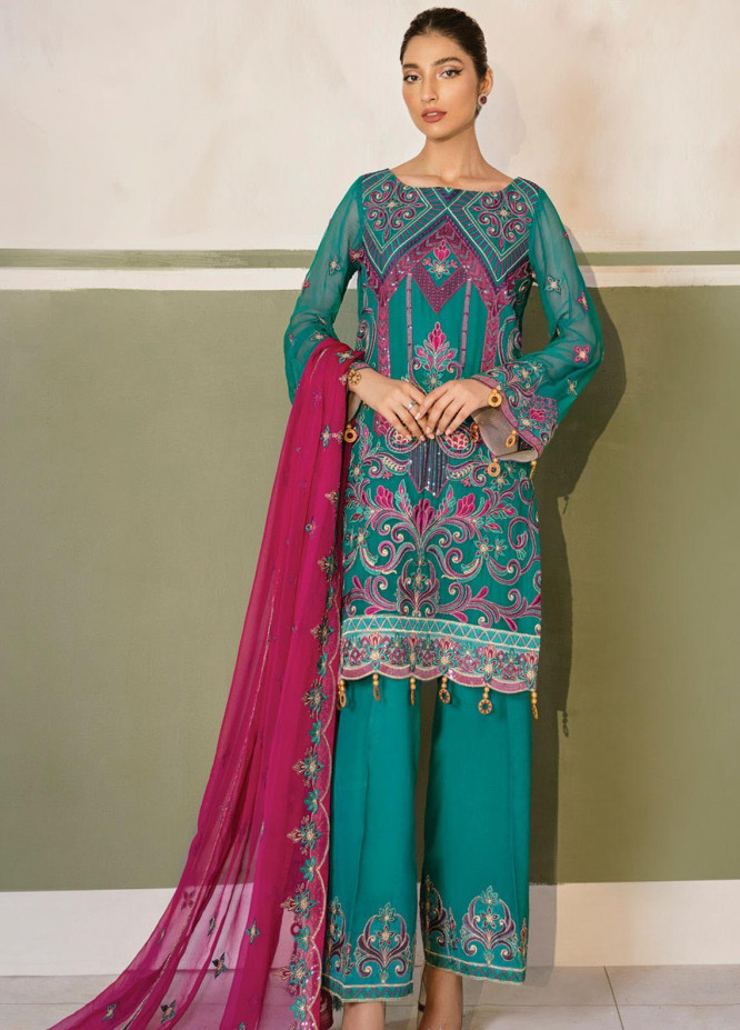Akbar Aslam Embroidered Chiffon Unstitched 3 Piece Suit AA20WD 2312 - Wedding Collection