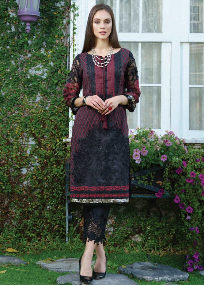 Al Zohaib Embroidered Organza Unstitched Kurties AZ20F D-08 - Formal Collection