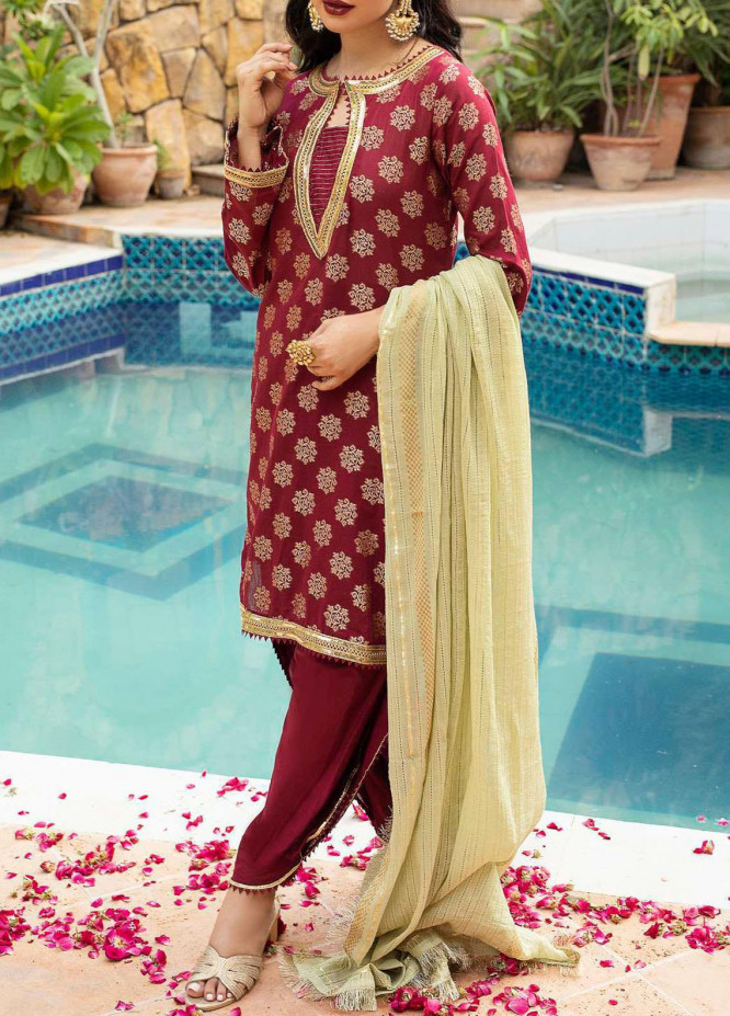 Al Zohaib Embroidered Jacquard Unstitched 3 Piece Suit AZ20JS 03 - Summer Collection
