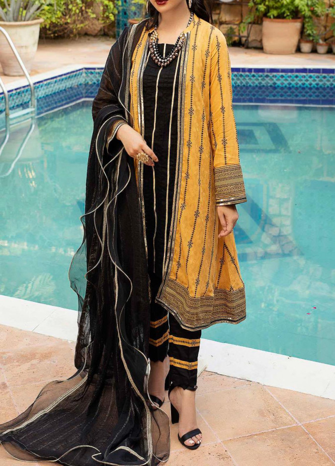 Al Zohaib Embroidered Jacquard Unstitched 3 Piece Suit AZ20JS 08 - Summer Collection