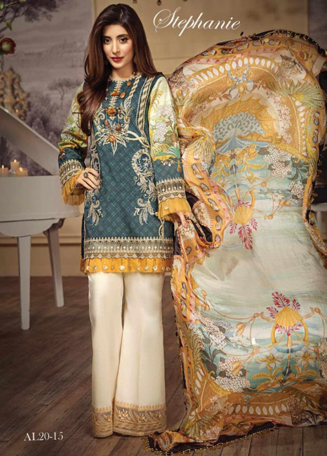 Anaya By Kiran Chaudhry Embroidered Lawn Unstitched 3 Piece Suit AKC20L 15 STEPHANIE - Luxury Collection