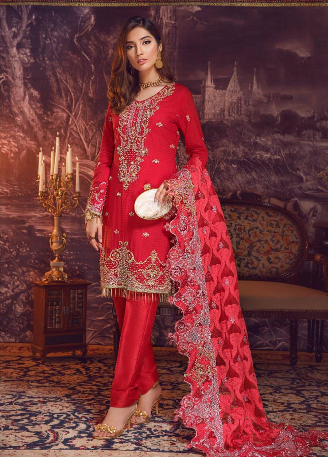 Areej By A-Meenah Embroidered Cotton Unstitched 3 Piece Suit AME19C 10 Fiiza - Luxury Collection