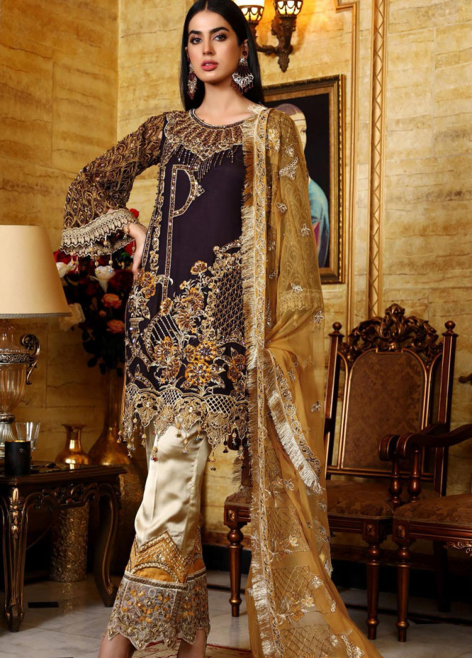 Areesha Embroidered Chiffon Unstitched 3 Piece Suit AR21C 01 Purple Mustard - Luxury Chiffon Collection