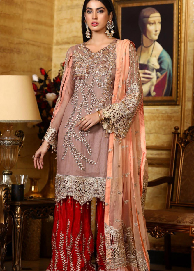 Areesha Embroidered Chiffon Unstitched 3 Piece Suit AR21C 02 Kaasni Mehroon - Luxury Chiffon Collection