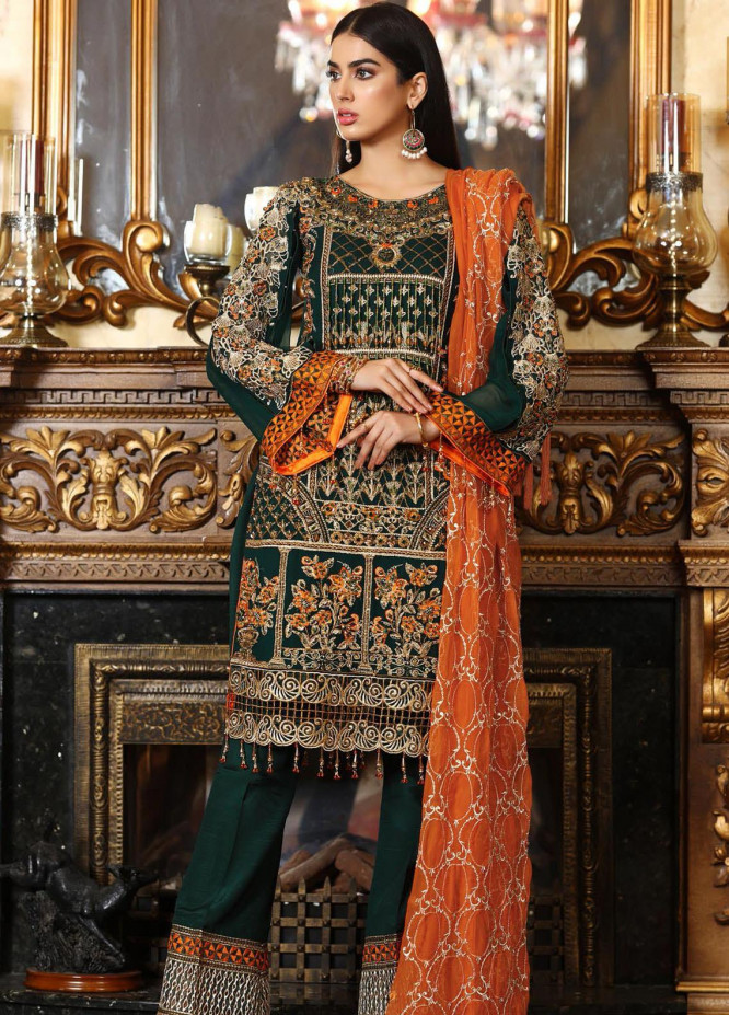 Areesha Embroidered Chiffon Unstitched 3 Piece Suit AR21C 03 Green Orange - Luxury Chiffon Collection