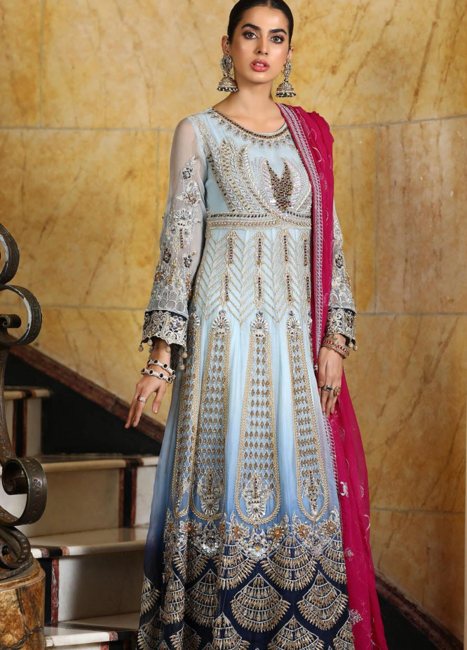 Areesha Embroidered Chiffon Unstitched 3 Piece Suit AR21C 06 Bridal Maxi - Luxury Chiffon Collection