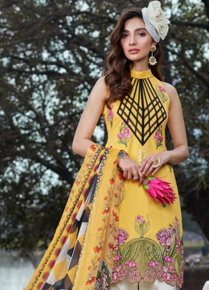 Asifa & Nabeel Embroidered Lawn Unstitched 3 Piece Suit AN20L Spring Blossom 22-B - Spring / Summer Collection