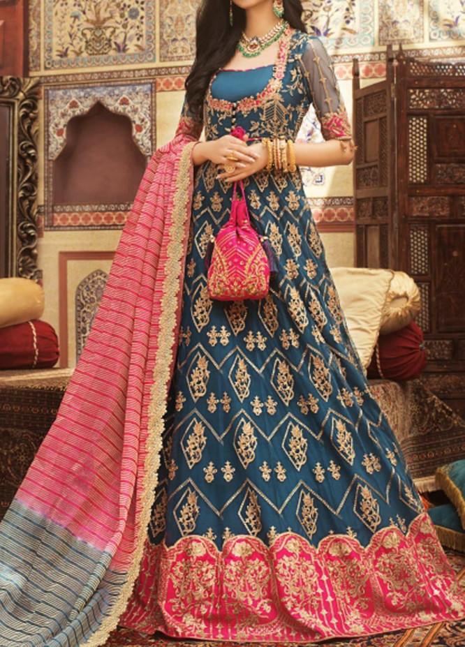Asim Jofa Embroidered Net Unstitched 3 Piece Suit AJ20FZ-05 - Luxury Collection