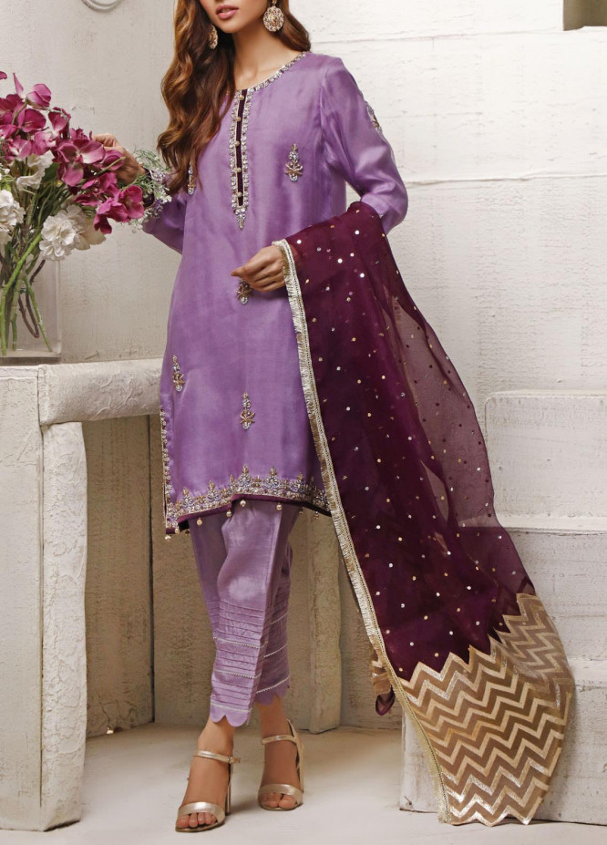 Fayon Embroidered Organza Stitched 3 Piece Suit FN-A139 Azure