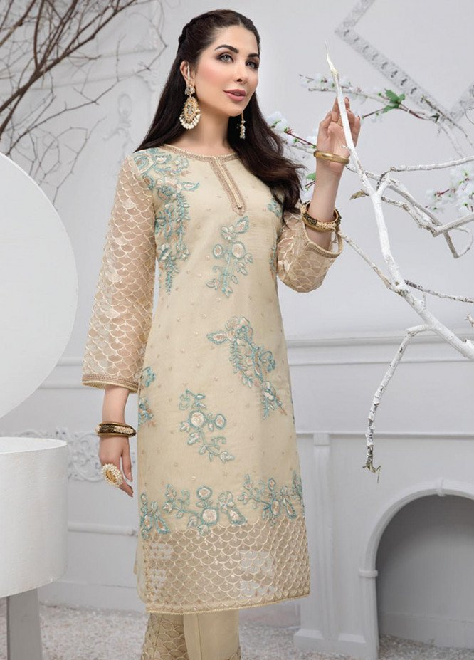 Azure Embroidered Organza Unstitched Kurties AZU20F Gold Mist 07 - Formal Luxury Collection
