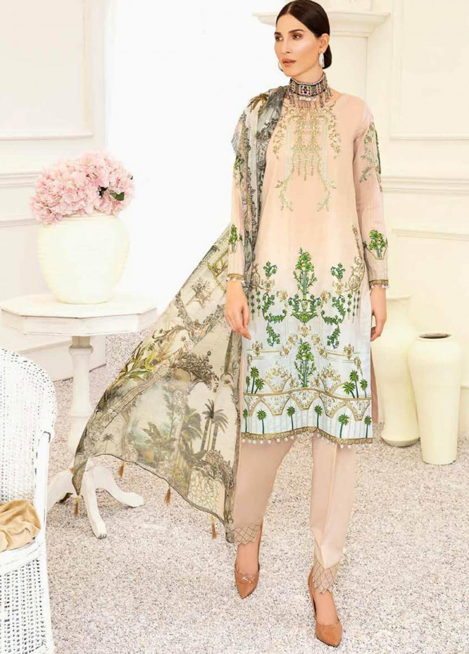 Banafsheh Embroidered Lawn Unstitched 3 Piece Suit BF20F D-01 - Luxury Collection