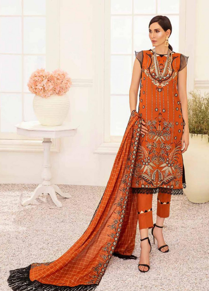 Banafsheh Embroidered Lawn Unstitched 3 Piece Suit BF20F D-08 - Luxury Collection