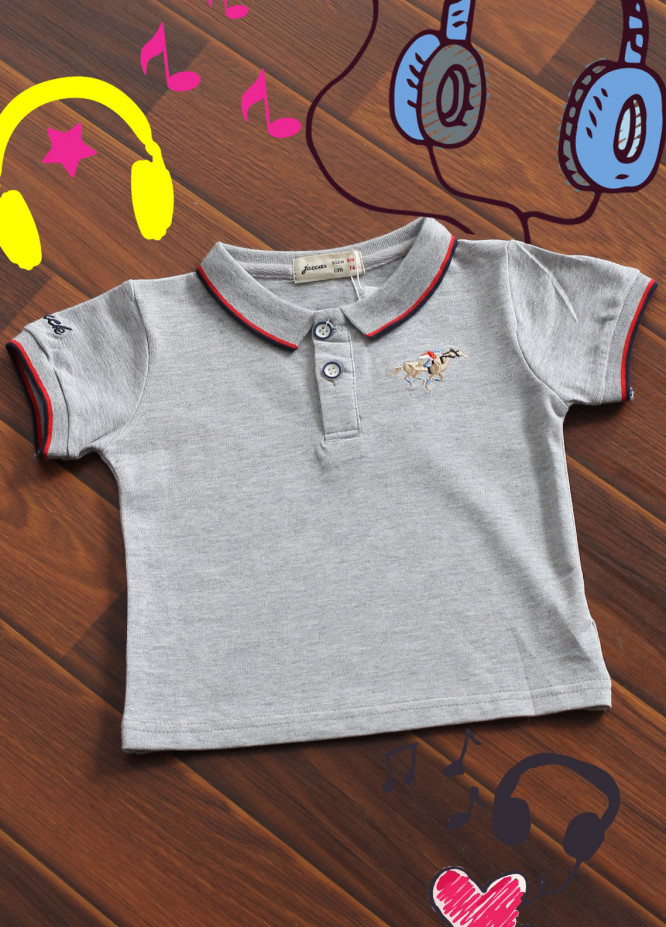 Sanaulla Exclusive Range Cotton Printed T-Shirts for Boys -  B 15 Grey