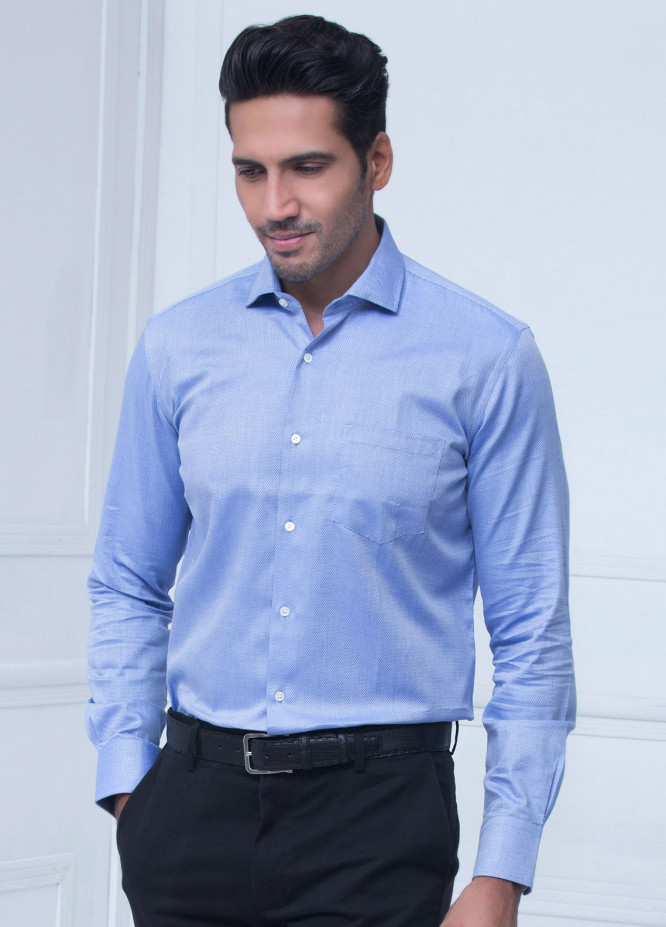 Brumano Cotton Formal Shirts for Men   Blue BRM 181