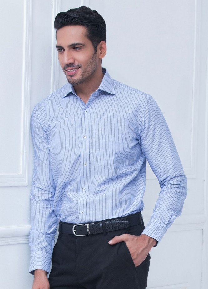 Brumano Cotton Formal Shirts for Men   Blue BRM 203