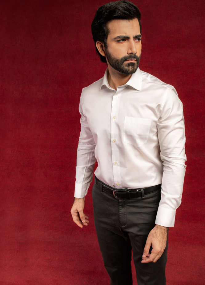 Brumano Cotton Formal Shirts for Men - White BRM-649